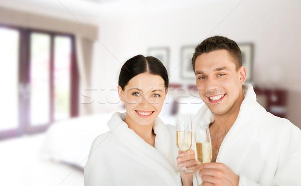 счастливым пару Spa номер в отеле люди путешествия Сток-фото © dolgachov