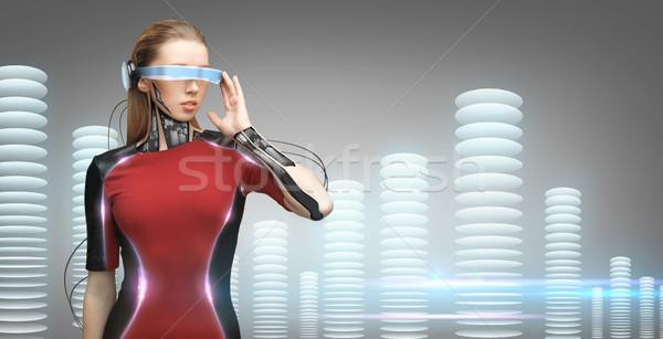 Stockfoto: Vrouw · futuristische · bril · mensen · technologie · toekomst