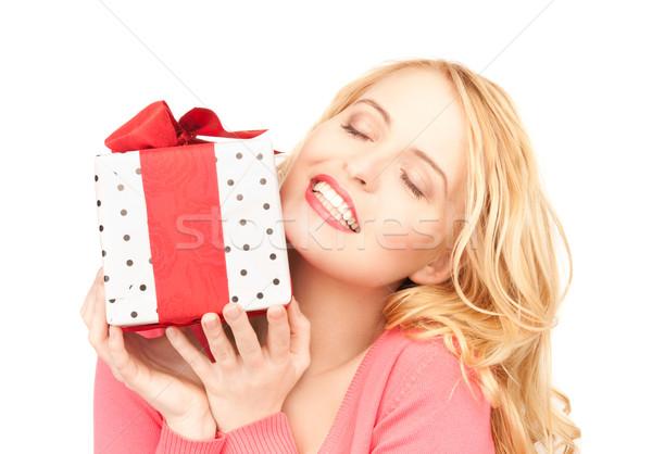 Stock fotó: Boldog · nő · ajándék · doboz · fehér · mosoly · születésnap