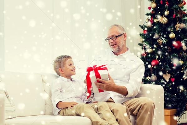 Lächelnd Großvater Enkel home Familie Feiertage Stock foto © dolgachov