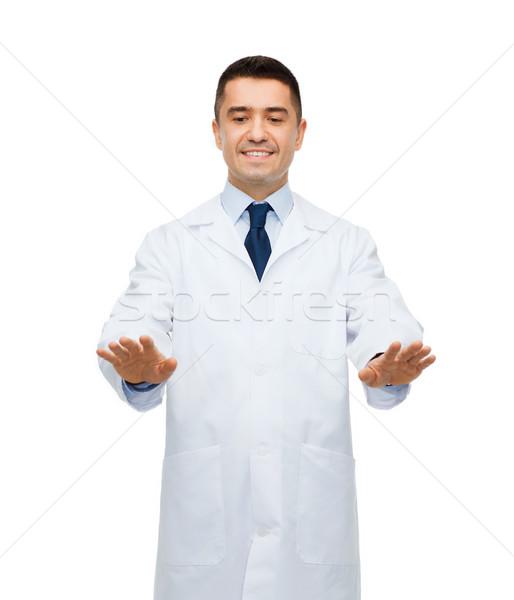 Glimlachend mannelijke arts aanraken iets gezondheidszorg beroep Stockfoto © dolgachov