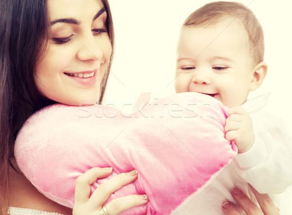 Baby mama kussen gelukkig vrouw familie Stockfoto © dolgachov