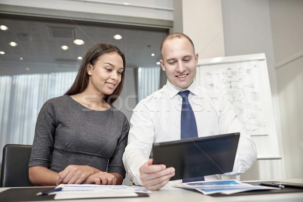 Sorridente escritório pessoas de negócios tecnologia Foto stock © dolgachov