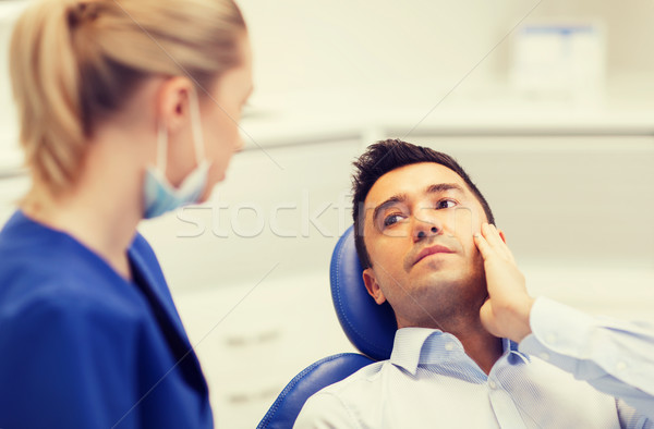 female dentist and male patient with toothache Stock photo © dolgachov