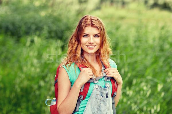 улыбаясь рюкзак походов лесу Adventure Сток-фото © dolgachov