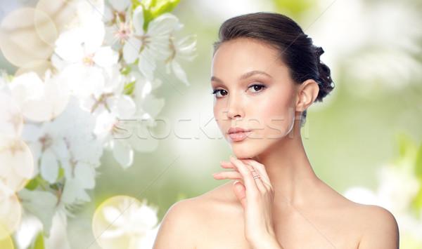 Photo stock: Visage · belle · asian · femme · or · anneau