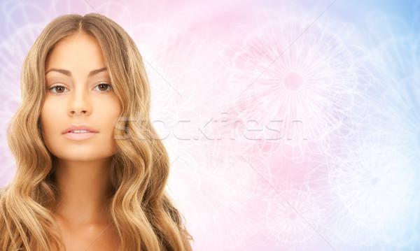 Cara belo jovem feliz mulher cabelos longos Foto stock © dolgachov