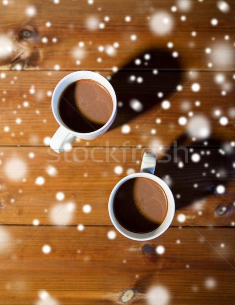 Chocolate quente bebidas madeira férias inverno Foto stock © dolgachov