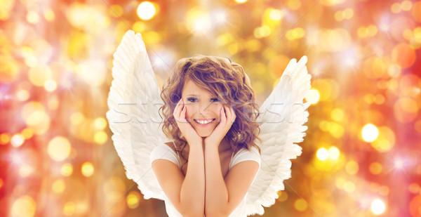 Szczęśliwy młoda kobieta teen girl ludzi wakacje Zdjęcia stock © dolgachov
