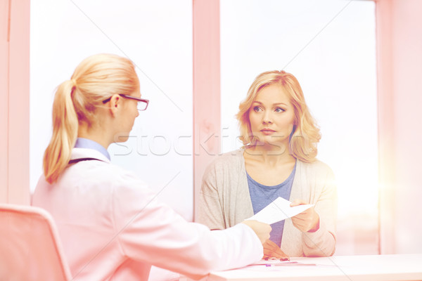 doctor giving prescription to woman at hospital Stock photo © dolgachov