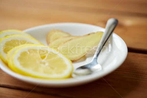 лимона имбирь пластина ложку здоровья традиционный Сток-фото © dolgachov