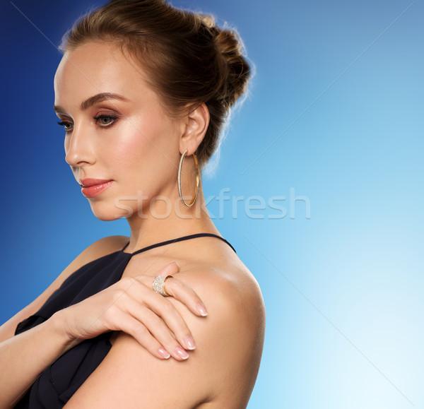 Zdjęcia stock: Piękna · kobieta · czarny · diament · biżuteria · ludzi