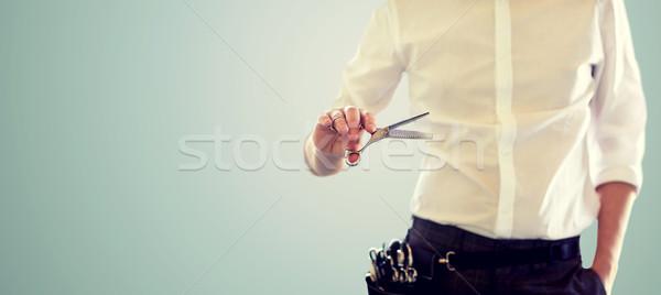 Homme styliste ciseaux bleu beauté Photo stock © dolgachov