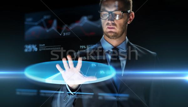 ビジネスマン 触れる バーチャル グラフ 投影 ビジネスの方々 ストックフォト © dolgachov