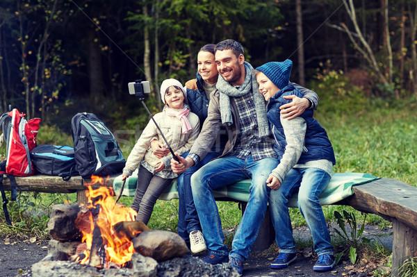 Aile kamp ateşi kamp seyahat Stok fotoğraf © dolgachov