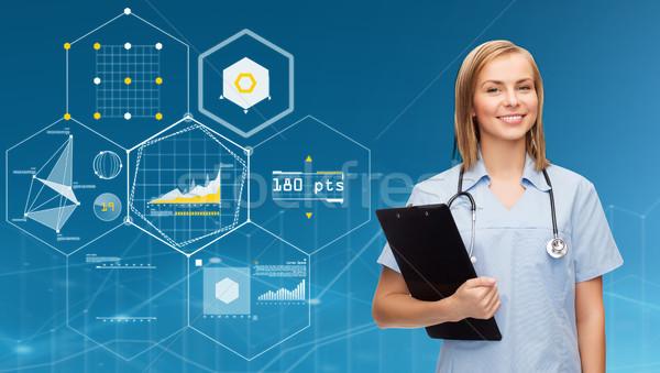 Mosolyog női orvos nővér vágólap egészségügy Stock fotó © dolgachov