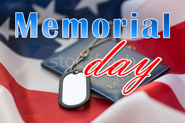 memorial day words on american flag and dog tags Stock photo © dolgachov
