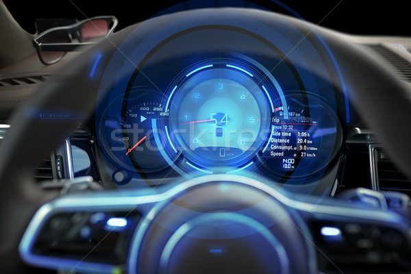 close up of car dashboard and steering wheel Stock photo © dolgachov