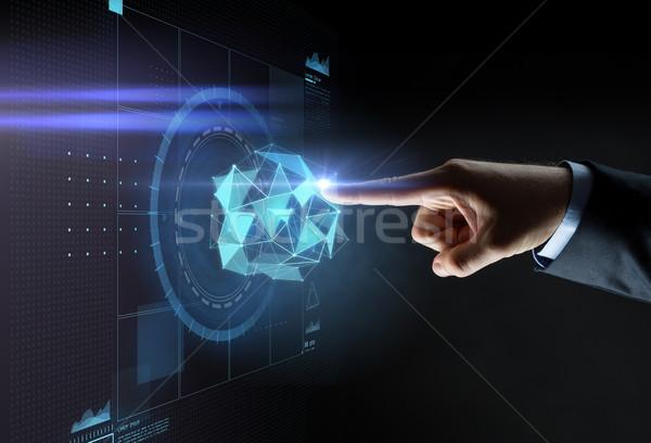 Masculino mão indicação dedo virtual projeção Foto stock © dolgachov