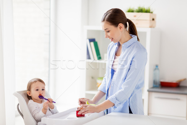 mother and baby with spoon eating puree at home Stock photo © dolgachov