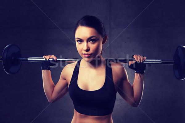 若い女性 筋肉 バーベル ジム スポーツ フィットネス ストックフォト © dolgachov