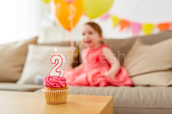 birthday cupcake for two year old baby girl Stock photo © dolgachov