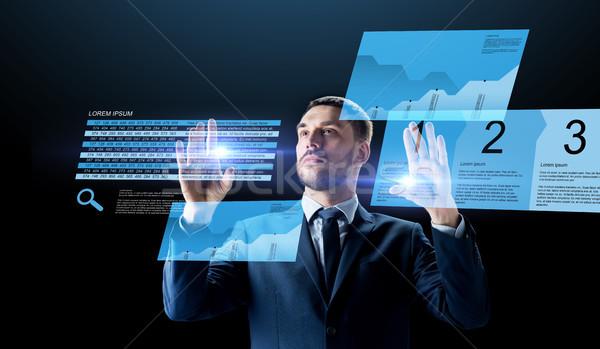 Zdjęcia stock: Biznesmen · czas · wykresy · faktyczny · ludzi · biznesu · rzeczywistość