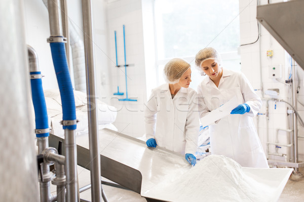 women technologists working at ice cream factory Stock photo © dolgachov