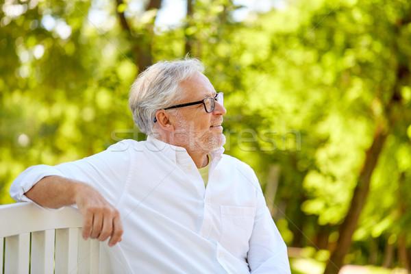 Boldog idős férfi szemüveg ül nyár Stock fotó © dolgachov