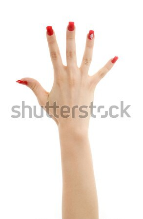 hand with red nails Stock photo © dolgachov