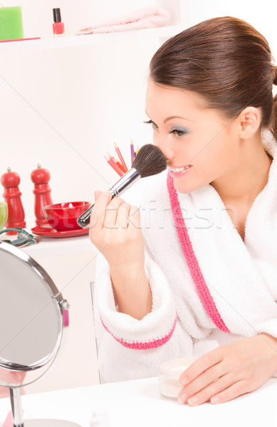 lovely woman with brush and mirror Stock photo © dolgachov