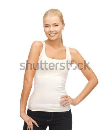женщину белый футболки фотография счастливым модель Сток-фото © dolgachov