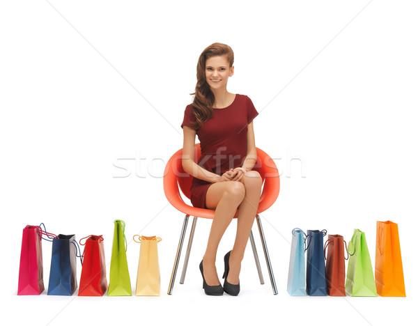 Kadın resim yüksek topuklu alışveriş sandalye Stok fotoğraf © dolgachov