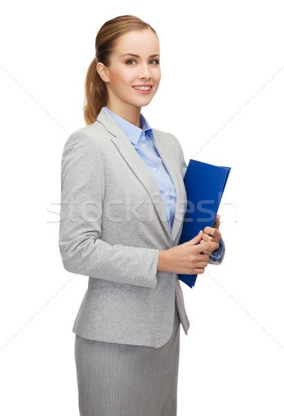 Sonriendo mujer de negocios carpeta negocios oficina feliz Foto stock © dolgachov