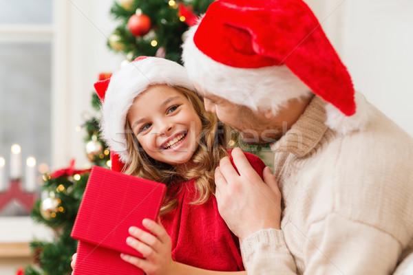 笑みを浮かべて 父 娘 開設 ギフトボックス 家族 ストックフォト © dolgachov