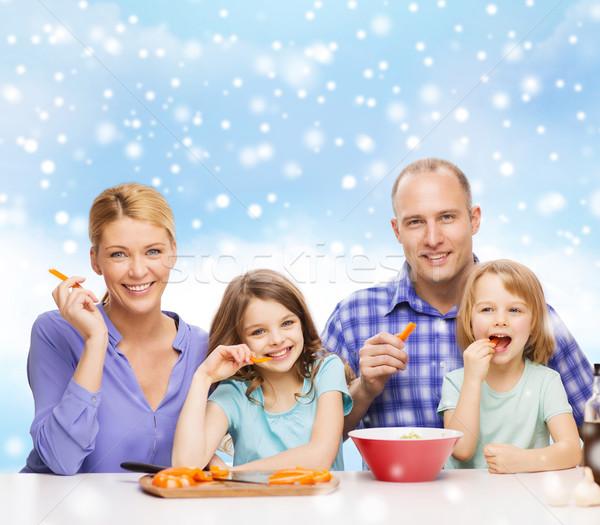Stockfoto: Gelukkig · gezin · twee · kinderen · diner · home