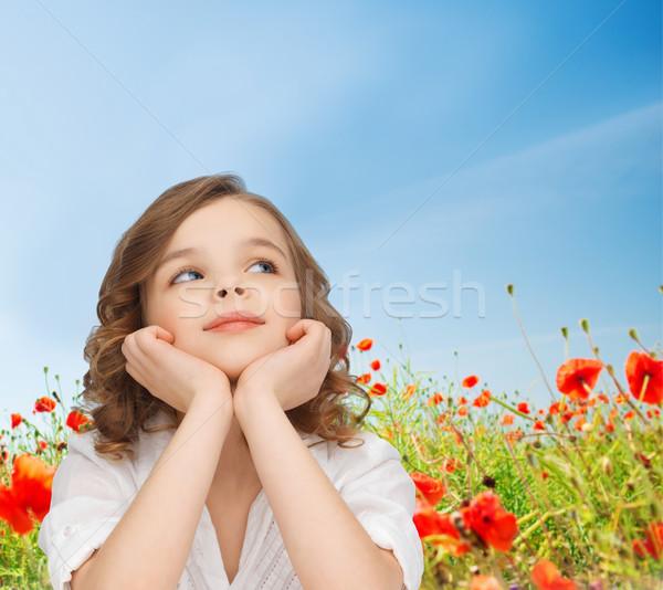 Stok fotoğraf: Güzel · kız · oturma · tablo · çocuklar · çocukluk