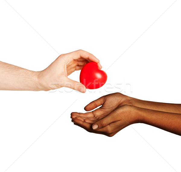 Stock photo: woman and man hands with red heart