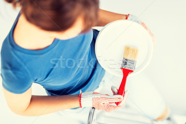 woman with paintbrush and paint pot Stock photo © dolgachov