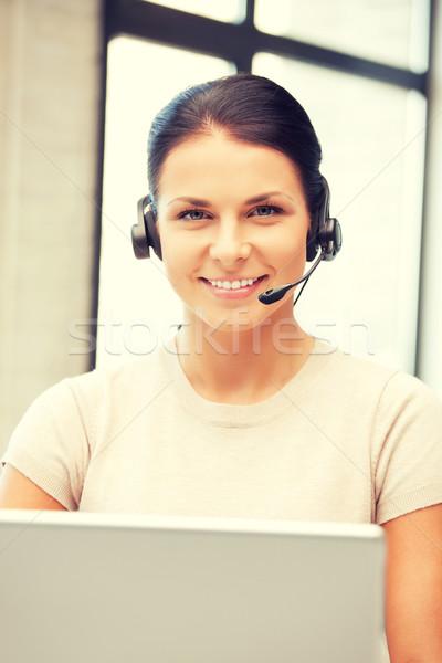 Línea de ayuda operador ordenador portátil Foto negocios mujer Foto stock © dolgachov