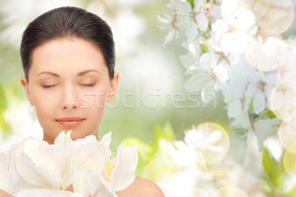 Stockfoto: Mooie · vrouw · bloemen · schoonheid · mensen · vakantie