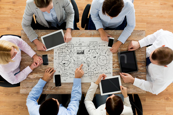 Stockfoto: Business · team · vergadering · kantoor · zakenlieden · technologie · planning