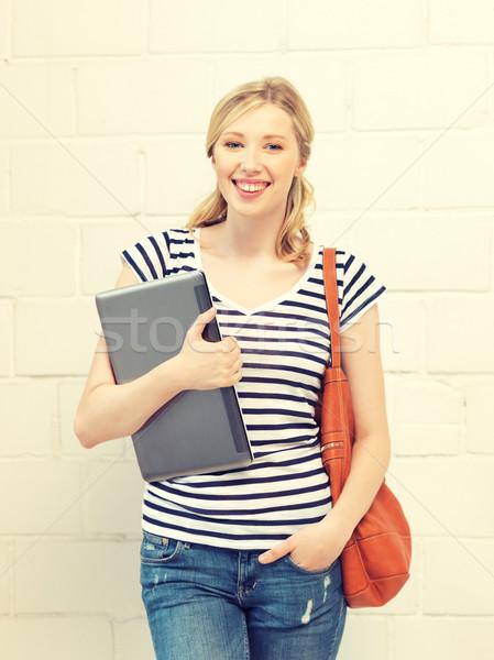 Stock foto: Glücklich · lächelnd · Laptop · Bild · Frau