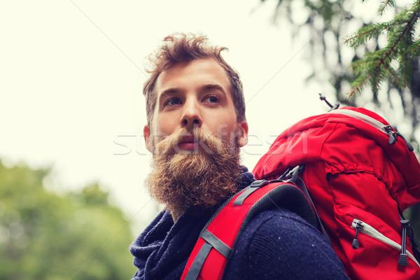 Adam sakal sırt çantası yürüyüş macera seyahat Stok fotoğraf © dolgachov