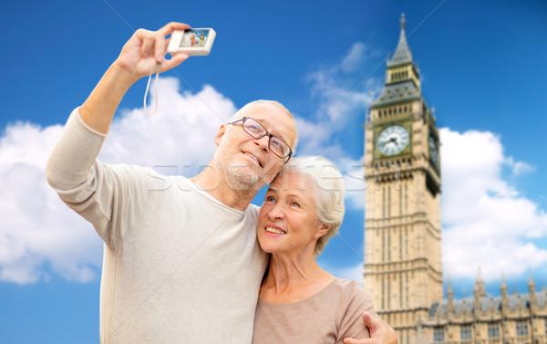 Starszy para kamery Big Ben wiek turystyki Zdjęcia stock © dolgachov