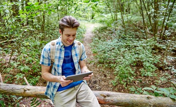 счастливым человека рюкзак лесу Adventure Сток-фото © dolgachov