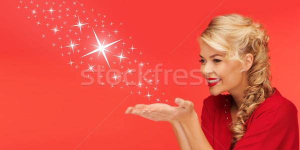 Nő küldés csillagok pálmafák kezek emberek Stock fotó © dolgachov