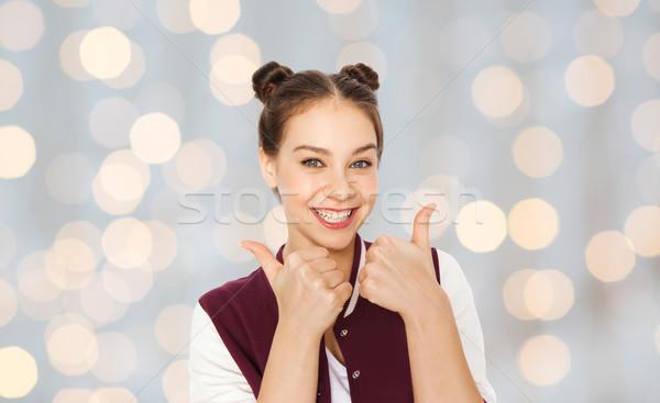 Mutlu gülen genç kız insanlar Stok fotoğraf © dolgachov