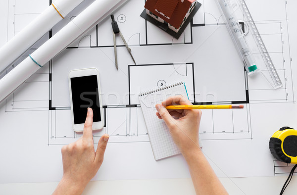 Handen blauwdruk business architectuur gebouw Stockfoto © dolgachov