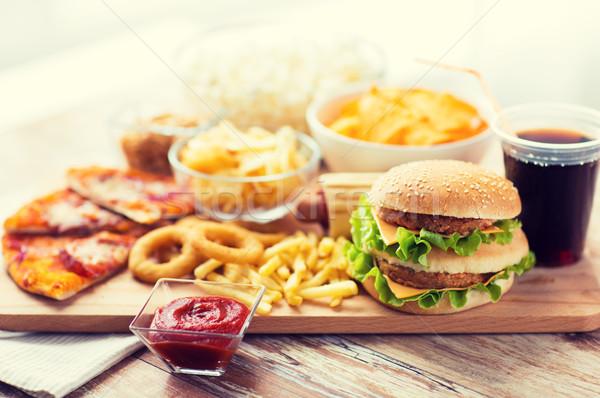 ファストフード スナック ドリンク 表 不健康な食事 ストックフォト © dolgachov